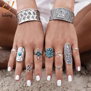 Jewelry - NEW.Silver Boho Rings Turquoise 9 piece set.